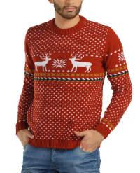 Красный свитер с оленями